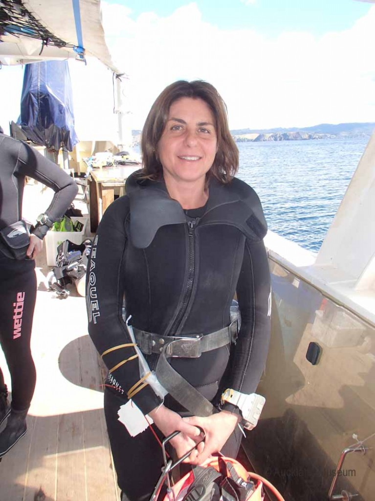 NIWA phycologist Roberta D'Archino getting ready for her first dive of the expedition - a dive that turned up a new record for the Cavalli Islands and previously undescribed species