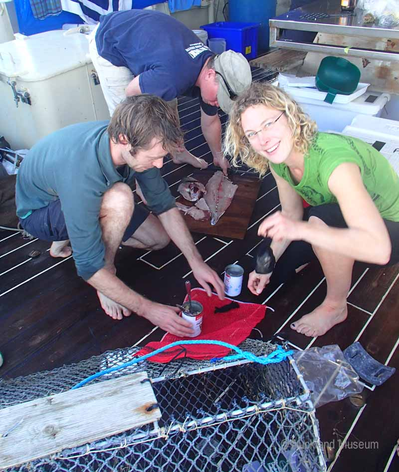 Kareen and Vincent a hagfish trap and an isopod trap ready