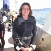 NIWA phycologist Roberta D'Archino getting ready for her first dive of the expedition – a dive that turned up a new record for the Cavalli Islands and previously undescribed species © Auckland Museum